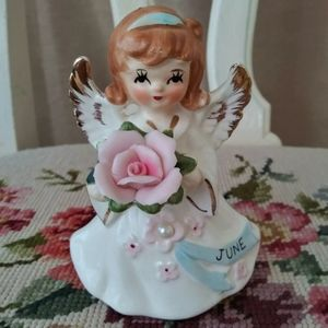 Vintage Lefton Ceramic June Month Angel figurine